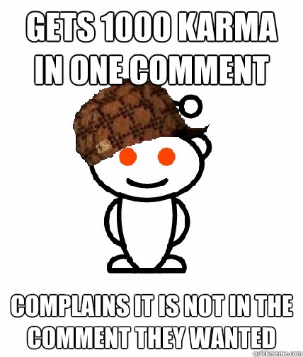 Gets 1000 karma in one comment COMPLAINS it is not in the comment they wanted - Gets 1000 karma in one comment COMPLAINS it is not in the comment they wanted  Scumbag Redditor