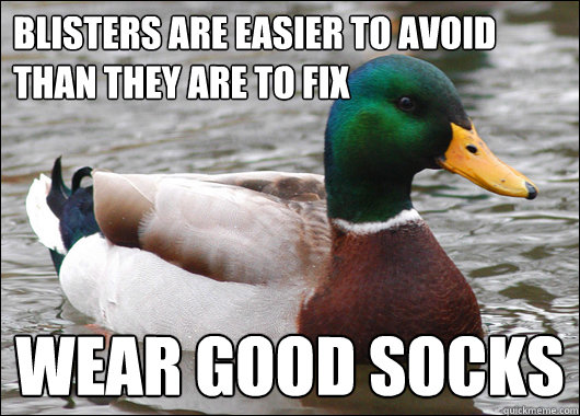 Blisters are easier to avoid than they are to fix Wear good socks - Blisters are easier to avoid than they are to fix Wear good socks  Actual Advice Mallard