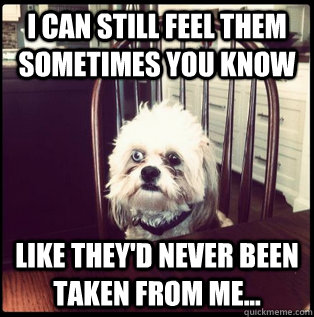 I can still feel them sometimes you know Like they'd never been taken from me...