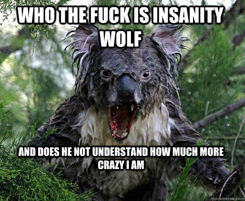 WHO THE FUCK IS INSANITY WOLF AND DOES HE NOT UNDERSTAND HOW MUCH MORE CRAZY I AM
