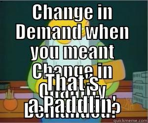 CHANGE IN DEMAND WHEN YOU MEANT CHANGE IN QUANTITY DEMANDED? THAT'S A PADDLIN' Paddlin Jasper