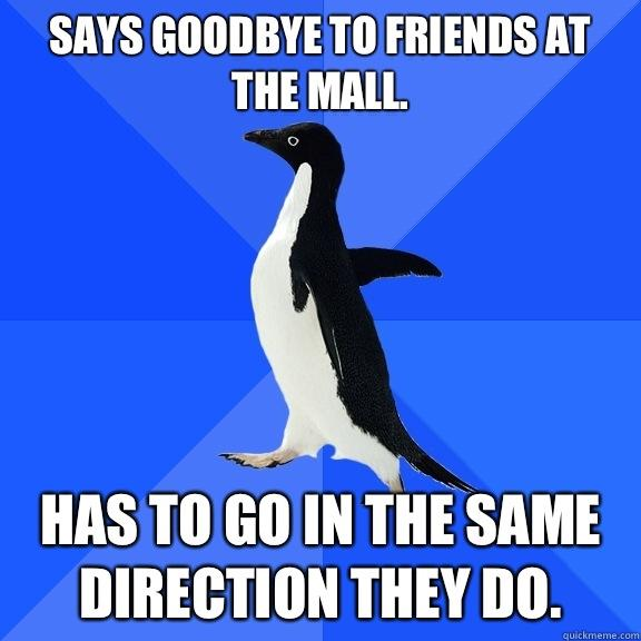 Says goodbye to friends at the mall.  Has to go in the same direction they do.  - Says goodbye to friends at the mall.  Has to go in the same direction they do.   Socially Awkward Penguin