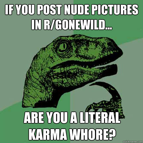 If you post nude pictures in r/gonewild... are you a literal karma whore?  Philosoraptor