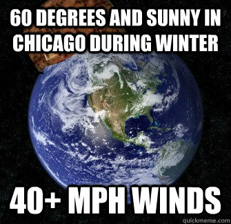 60 Degrees and sunny in Chicago during winter 40+ MPH winds