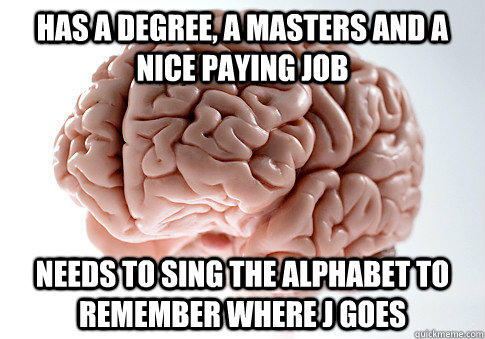 HAS A DEGREE, A MASTERS AND A NICE PAYING JOB Needs to sing the alphabet to remember where J goes - HAS A DEGREE, A MASTERS AND A NICE PAYING JOB Needs to sing the alphabet to remember where J goes  Scumbag Brain