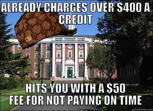 ALREADY CHARGES OVER $400 A CREDIT HITS YOU WITH A $50 FEE FOR NOT PAYING ON TIME Scumbag University