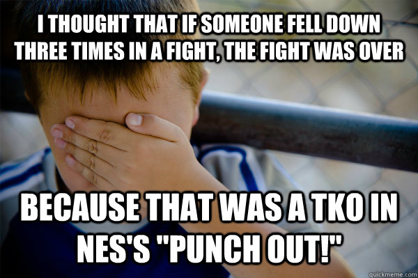 I thought that if someone fell down three times in a fight, the fight was over because that was a TKO in NES's