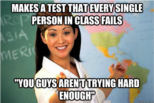 Makes a test that every single person in class fails