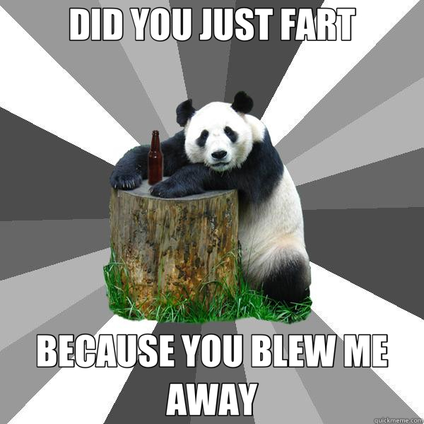 DID YOU JUST FART BECAUSE YOU BLEW ME AWAY - DID YOU JUST FART BECAUSE YOU BLEW ME AWAY  Pickup-Line Panda
