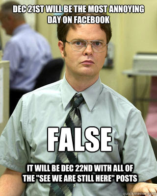 Dec 21st will be the most annoying day on facebook FALSE  It will be Dec 22nd with all of the