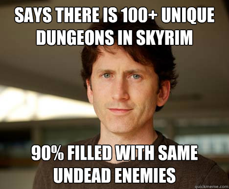 Says there is 100+ Unique dungeons in skyrim 90% filled with same undead enemies  Todd Howard