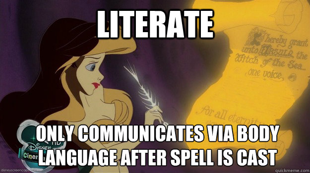 3b38fb204fc820457253f352e2b4f54c648874c612e542dcefa7a6ccdca46357 literate only communicates via body language after spell is cast,Body Language Funny Memes