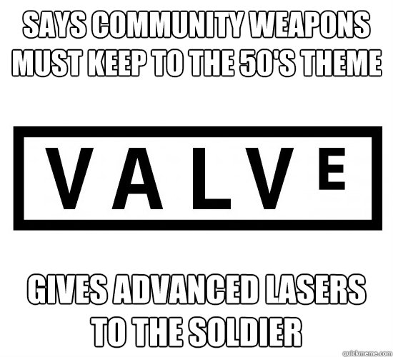 Says community weapons must keep to the 50's theme gives advanced lasers to the soldier