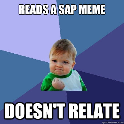 Reads a SAP meme Doesn't relate  Success Kid