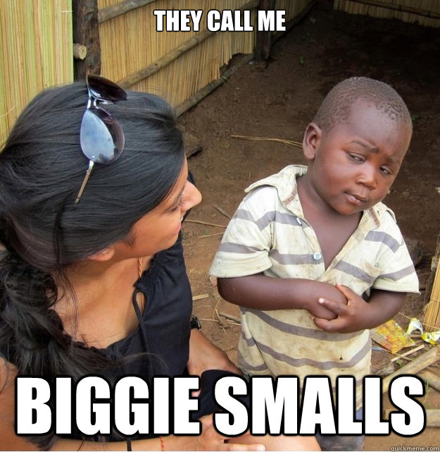 They Call Me Biggie Smalls Skeptical Third World Kid Quickmeme