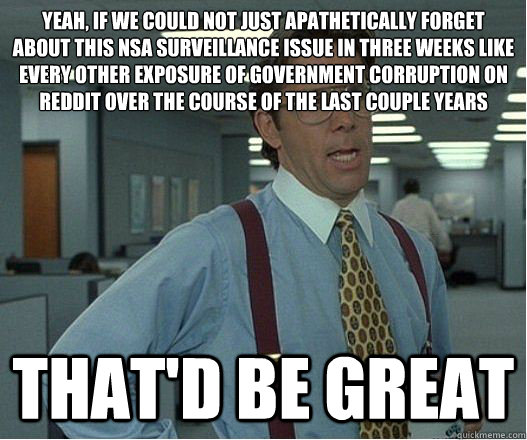 Yeah, if we could not just apathetically forget about this NSA surveillance issue in three weeks like every other exposure of government corruption on Reddit over the course of the last couple years that'd be great