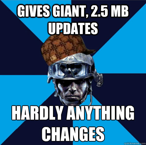 gives giant, 2.5 mb updates hardly anything changes - gives giant, 2.5 mb updates hardly anything changes  Scumbag Battlefield 3 Guy