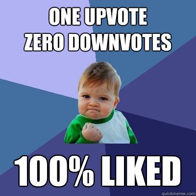 one upvote  zero downvotes 100% liked  Success Kid