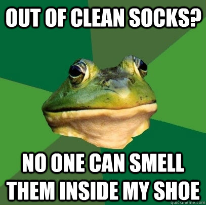 out of clean socks? no one can smell them inside my shoe - out of clean socks? no one can smell them inside my shoe  Foul Bachelor Frog