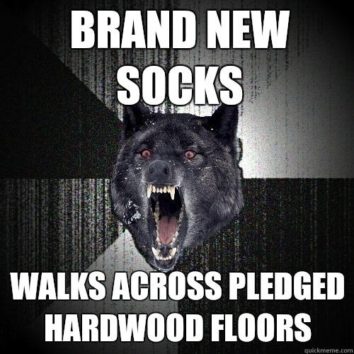 Brand new socks Walks across pledged hardwood floors - Brand new socks Walks across pledged hardwood floors  Insanity Wolf