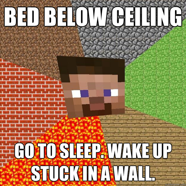 Bed below ceiling Go to sleep. Wake up stuck in a wall. - Bed below ceiling Go to sleep. Wake up stuck in a wall.  Minecraft