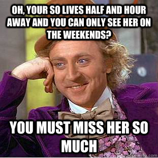 Oh, your SO lives half and hour away and you can only see her on the weekends? You must miss her so much - Oh, your SO lives half and hour away and you can only see her on the weekends? You must miss her so much  Condescending Wonka