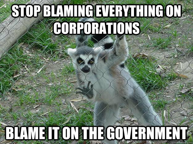 stop blaming everything on corporations blame it on the government  Libertarian Lemur