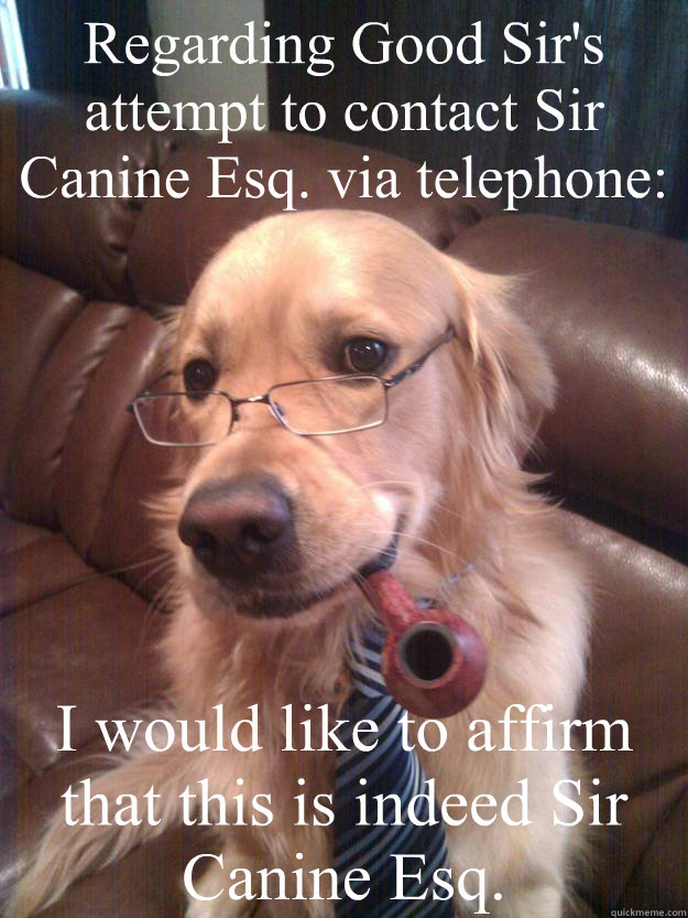Regarding Good Sir's attempt to contact Sir Canine Esq. via telephone: I would like to affirm that this is indeed Sir Canine Esq. - Regarding Good Sir's attempt to contact Sir Canine Esq. via telephone: I would like to affirm that this is indeed Sir Canine Esq.  Sir Canine Esq.