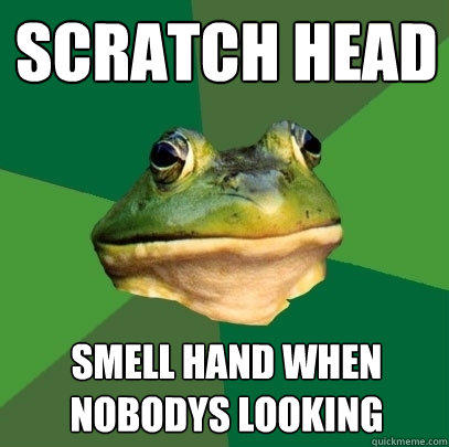 scratch head  smell hand when nobodys looking - scratch head  smell hand when nobodys looking  Foul Bachelor Frog