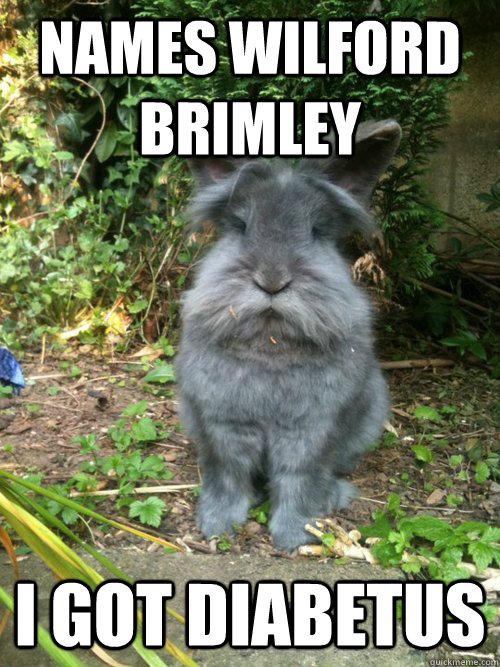 Names Wilford Brimley I got diabetus - Names Wilford Brimley I got diabetus  Rabbit diabetus