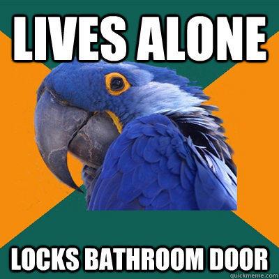 lives alone locks bathroom door - lives alone locks bathroom door  Paranoid Parrot