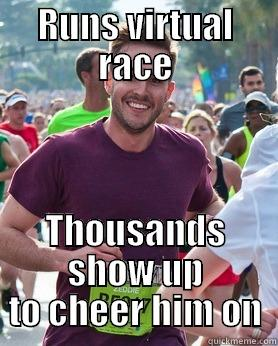RUNS VIRTUAL RACE THOUSANDS SHOW UP TO CHEER HIM ON Ridiculously photogenic guy