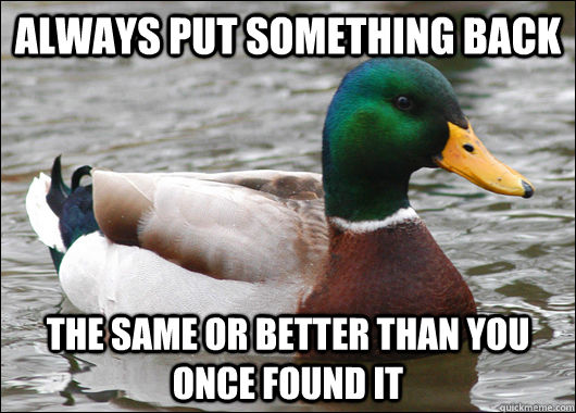 Always put something back  the same or better than you once found it - Always put something back  the same or better than you once found it  Actual Advice Mallard