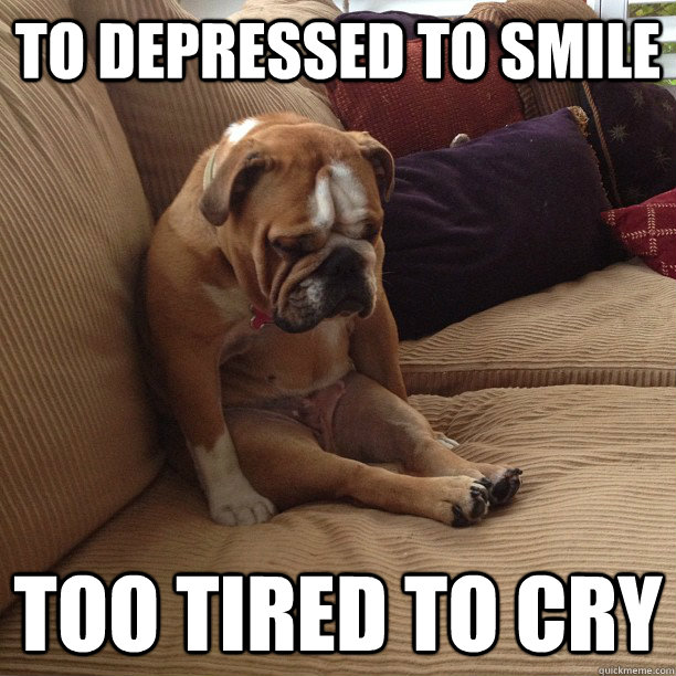 To depressed to smile too tired to cry - To depressed to smile too tired to cry  depressed dog