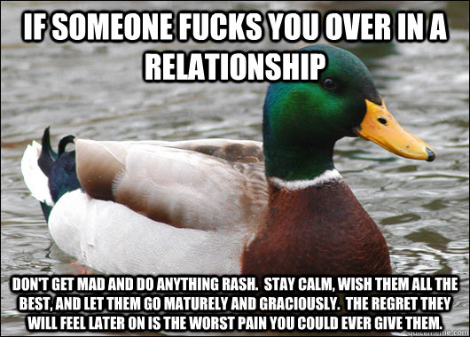 if someone fucks you over in a relationship don't get mad and do anything rash.  stay calm, wish them all the best, and let them go maturely and graciously.  the regret they will feel later on is the worst pain you could ever give them. - if someone fucks you over in a relationship don't get mad and do anything rash.  stay calm, wish them all the best, and let them go maturely and graciously.  the regret they will feel later on is the worst pain you could ever give them.  Actual Advice Mallard
