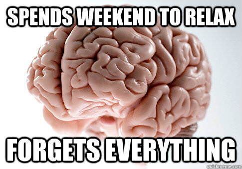 spends weekend to relax forgets everything - spends weekend to relax forgets everything  Scumbag Brain