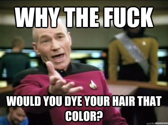 Why the fuck Would you dye your hair that color? - Why the fuck Would you dye your hair that color?  Annoyed Picard HD