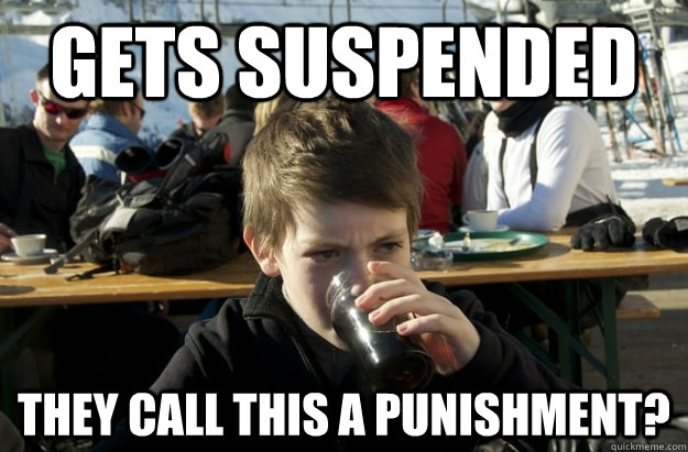 3cbb01d260057bad60c645352b139e45568b8eae17391e924969301f5f3d6645 gets suspended they call this a punishment? lazy elementary