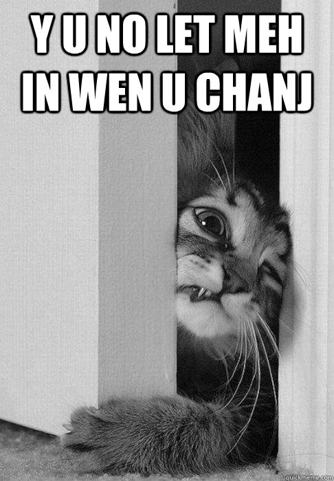 y u no let meh in wen u chanj  - y u no let meh in wen u chanj   doorcat