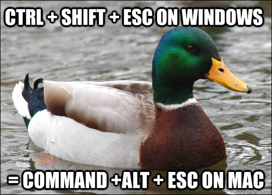 Ctrl + shift + esc on Windows = command +alt + esc on Mac - Ctrl + shift + esc on Windows = command +alt + esc on Mac  Actual Advice Mallard