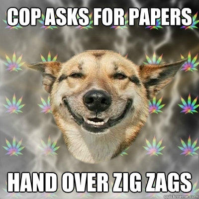 Cop asks for papers hand over zig zags - Cop asks for papers hand over zig zags  Stoner Dog