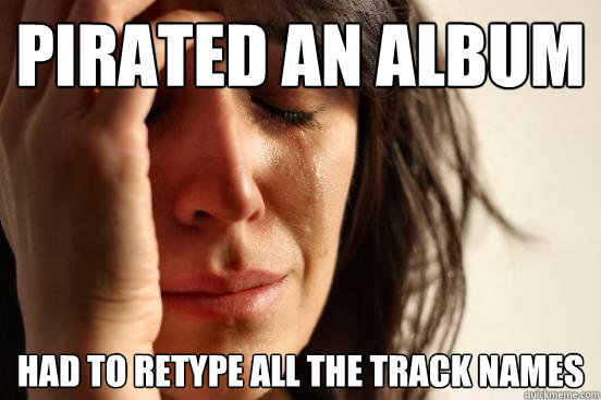 pirated an album had to retype all the track names - pirated an album had to retype all the track names  First World Problems