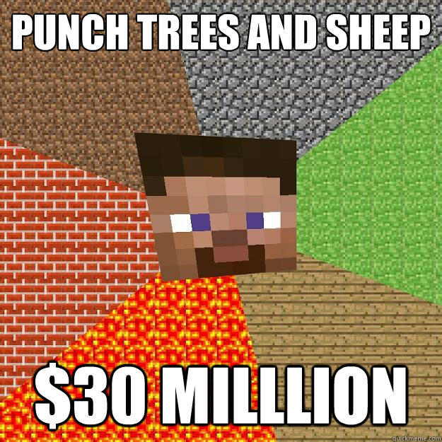 Punch trees and sheep $30 milllion  Minecraft