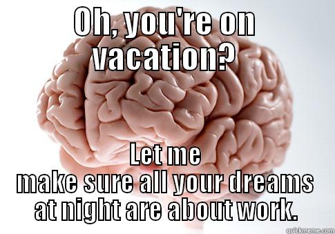 Because it happens - OH, YOU'RE ON VACATION? LET ME MAKE SURE ALL YOUR DREAMS AT NIGHT ARE ABOUT WORK. Scumbag Brain