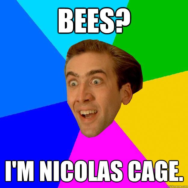 BEES? I'm NICOLAS CAGE.  Nicolas Cage