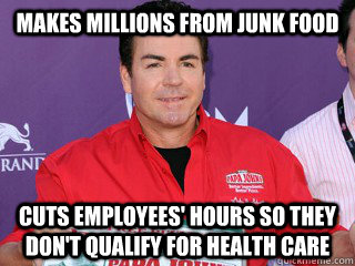 makes millions from junk food cuts employees' hours so they don't qualify for health care - makes millions from junk food cuts employees' hours so they don't qualify for health care  Misc