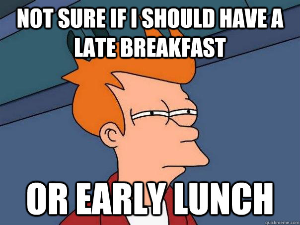 Not sure if I should have a late breakfast Or early lunch - Not sure if I should have a late breakfast Or early lunch  Futurama Fry