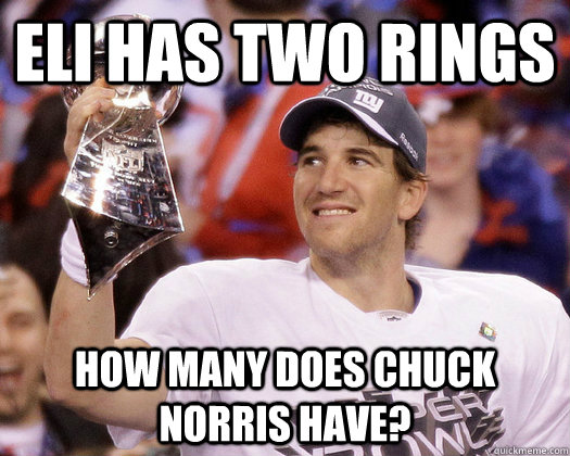 Eli Has two rings how many does chuck norris have?