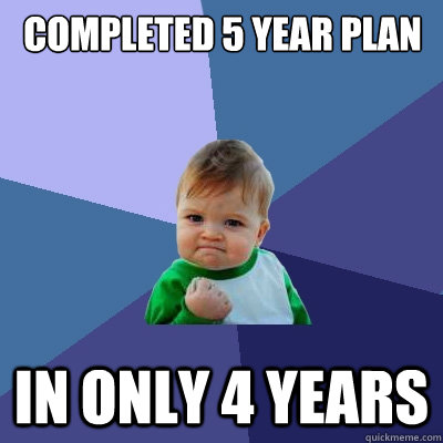 Completed 5 year plan in only 4 years - Completed 5 year plan in only 4 years  Success Kid