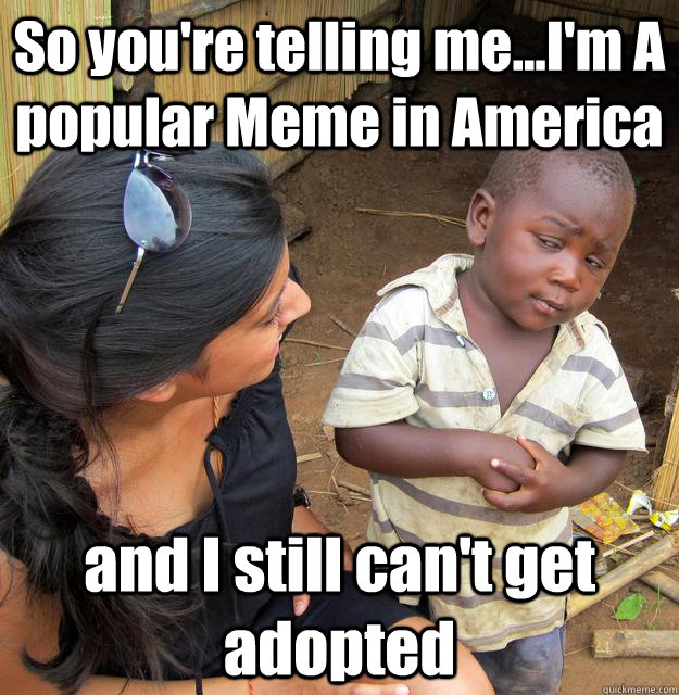 So you're telling me...I'm A popular Meme in America and I still can't get adopted - So you're telling me...I'm A popular Meme in America and I still can't get adopted  3rd World Skeptical Child